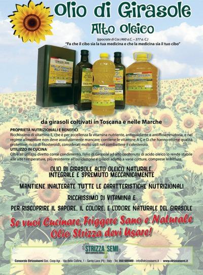 Pubblicità dell'olio di semi di girasole alto oleico Strizzaisemi