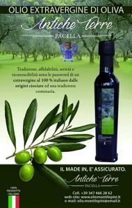 La locandina dell'olio extravergine d'oliva Antiche Terre Pacella