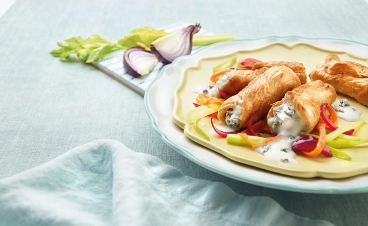 Bauletti di tacchino con Gorgonzola Dop Dolce e verdure