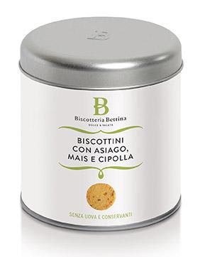 Confezione dei Biscottini all'Asiago della Biscotteria Bettina