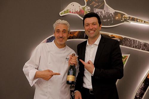 Fabio Zenato proprietario dell'azienda Le Morette con lo chef Leandro Luppi