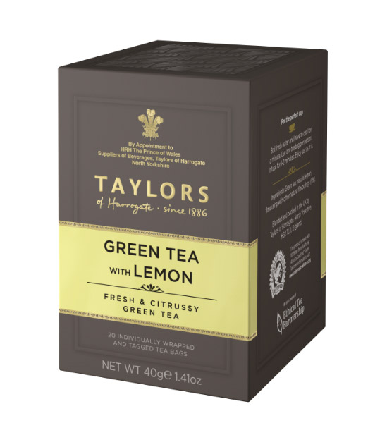 L'elegante scatola del Taylors Green Tea with lemon