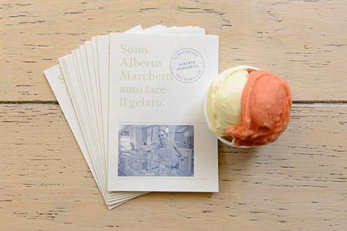 Brochure di Alberto Marchetti con coppetta due gusti