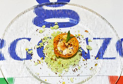 Logo del Gorgonzola con dessert al centro