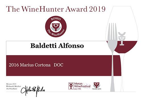 Il riconoscimento The Wine Award 2019 al 2016 Marius Cortona DOC Baldetti