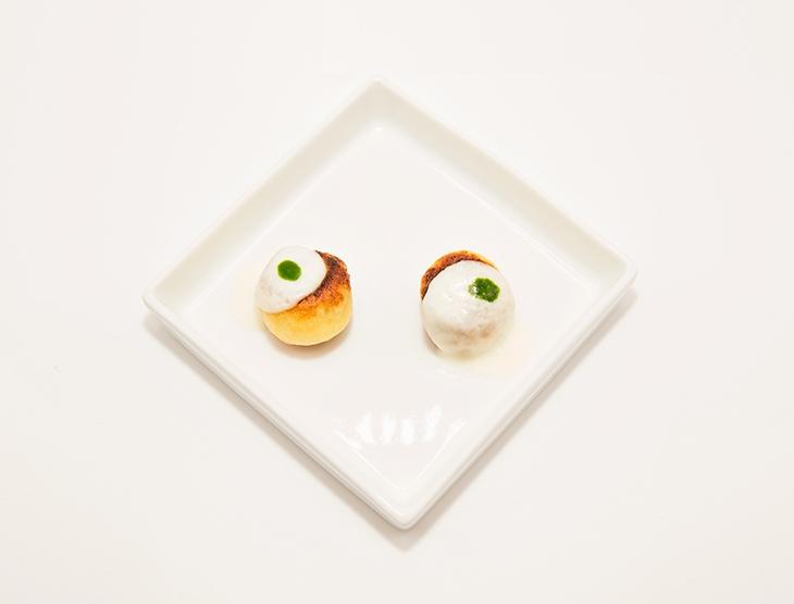 Gnocco ripieno, parmigiana di melanzane, basilico e provola di bufala