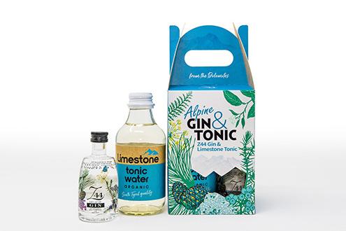 La box e il contenuto di Alpine Gin&Tonic Roner