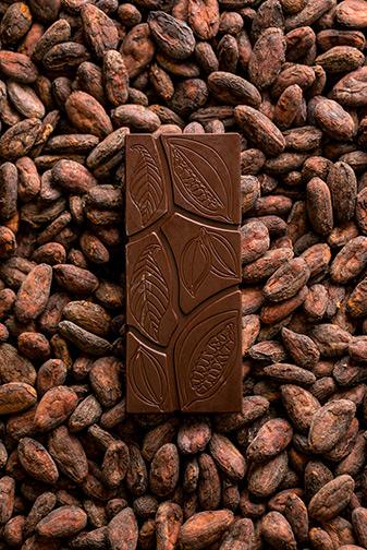Tavoletta di cioccolato monorigine su letto di fave di cacao